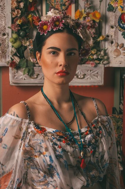 Photo by Ricardo Santos Modelling by Alexandra Grumann Style & makeup by Maindo Andem (White silk roses and silk shirt from Lady Bohemia & jewellery from Fine van Brooklin)