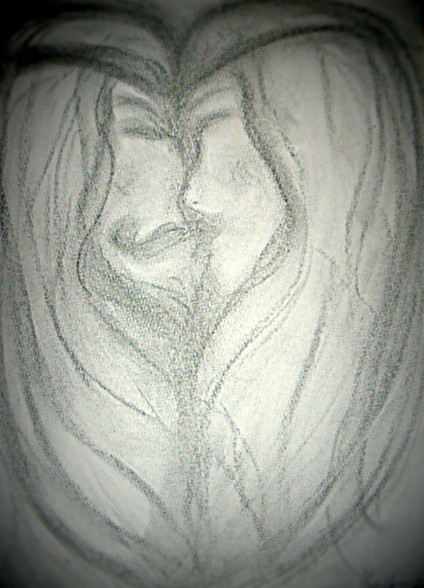Soulmate lovers 2012 Charcoal on paper