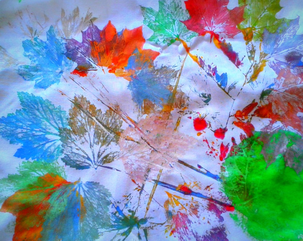 Leaves & autumn 2014 Printed on cloth with acrylic
